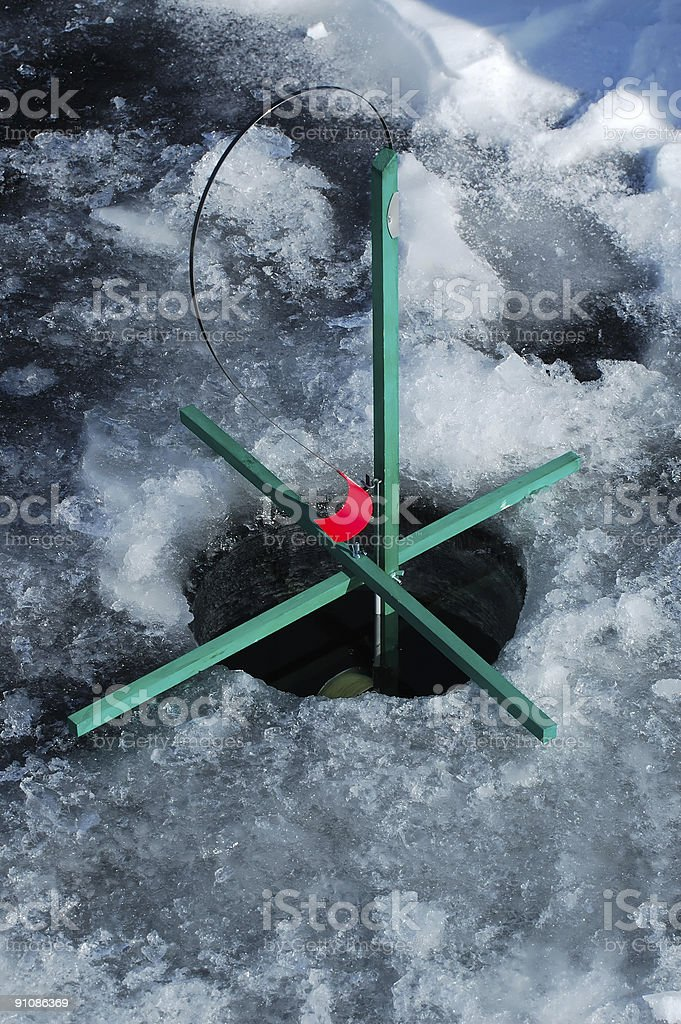 Ice fishing trap royalty-free stock photo