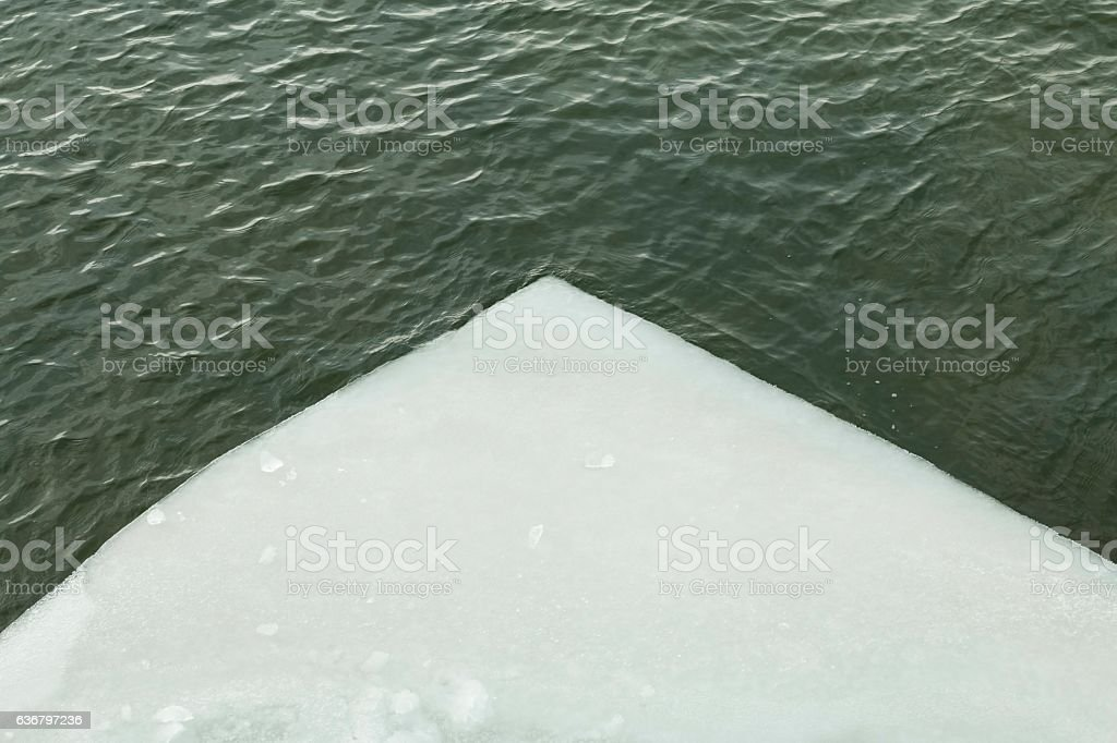 Ice floating on river in spring time. stock photo