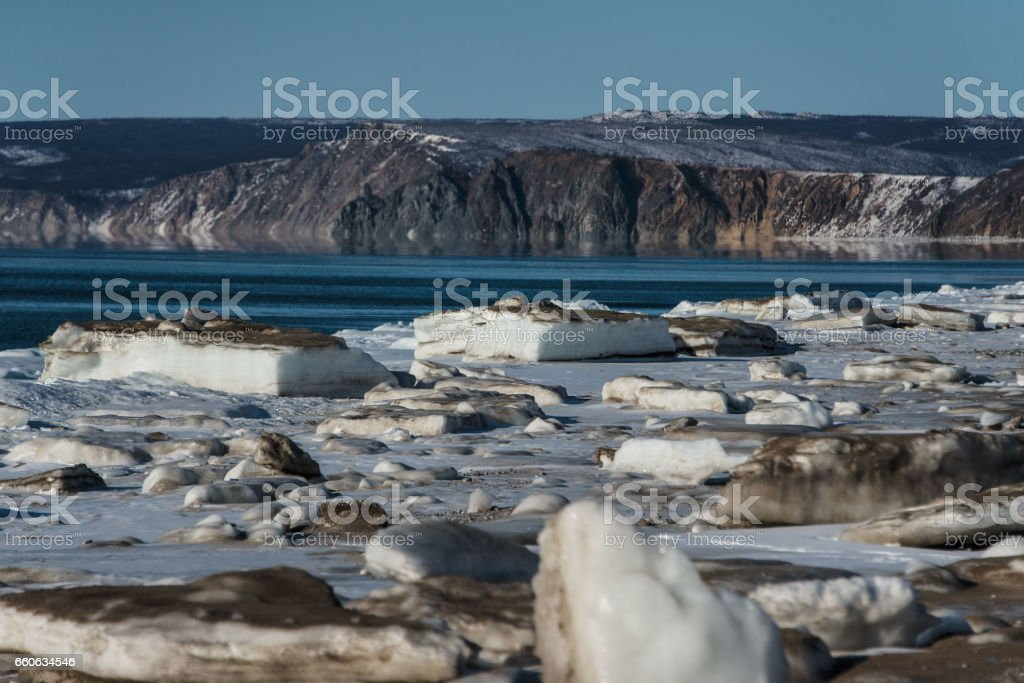 Ice floe on the Sea of Okhotsk stock photo