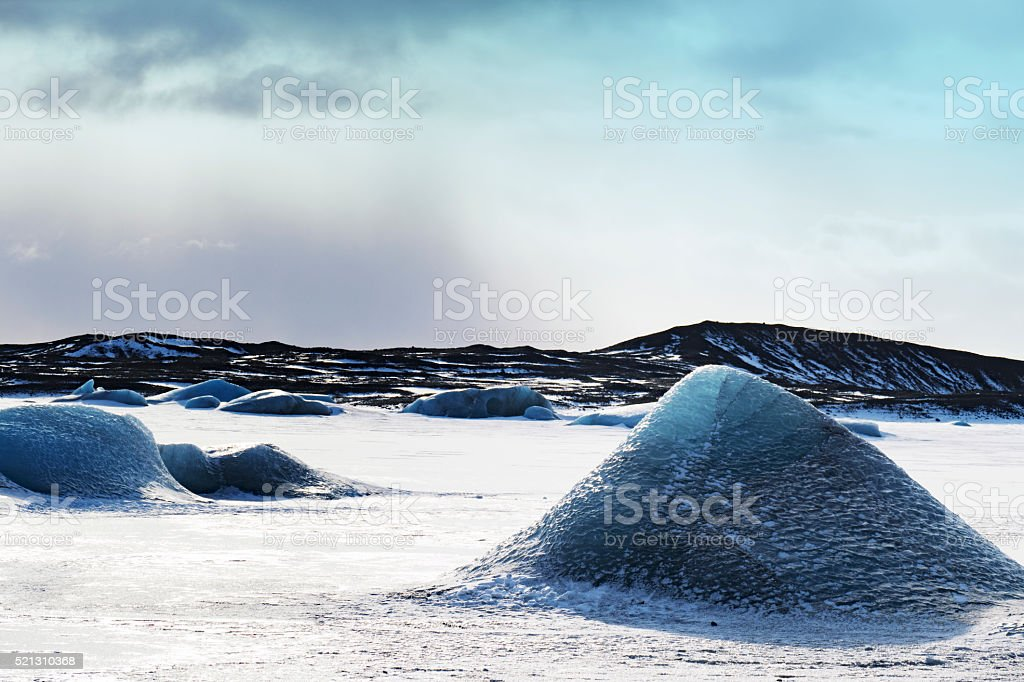 Ice floes in frozen pond near the Skaftafell glacier,Iceland stock photo