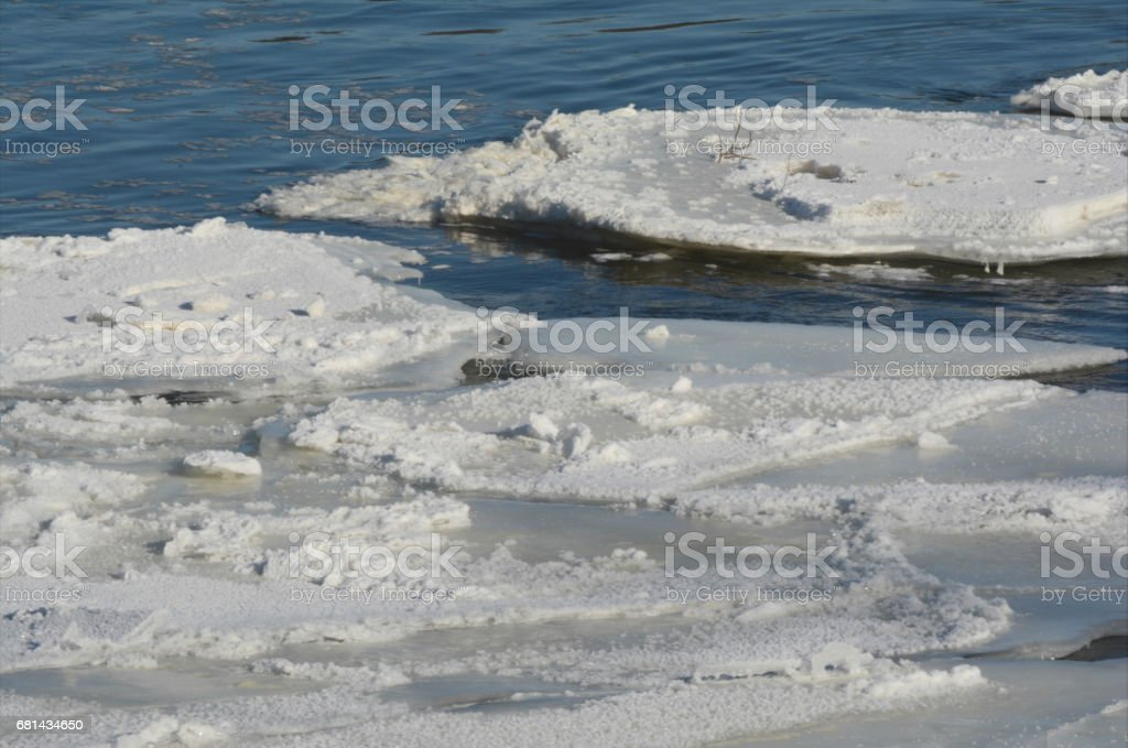Ice Floes On The Upper Mississippi River stock photo