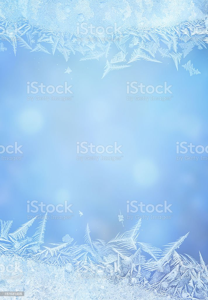 Ice flower frame on glass royalty-free stock photo