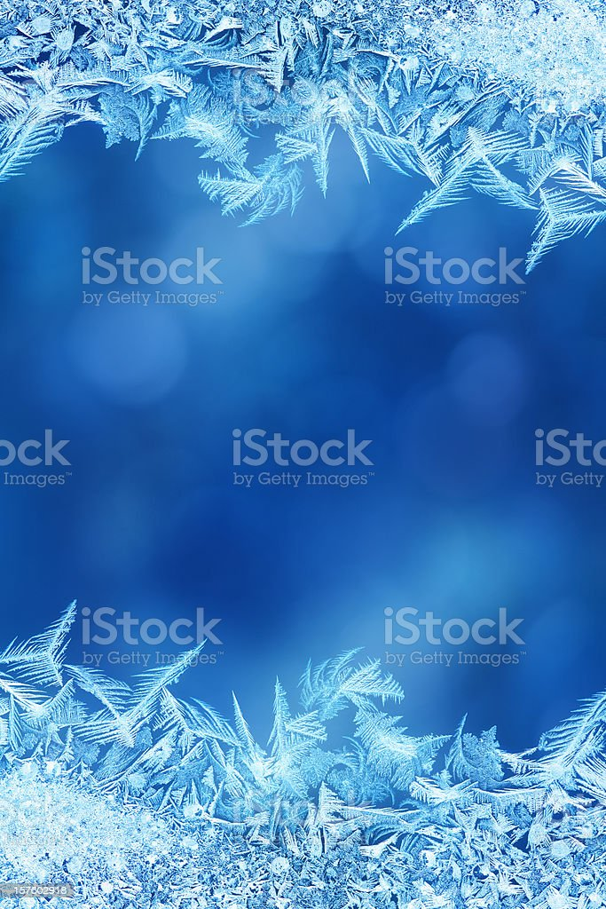 Ice flower frame on glass stock photo