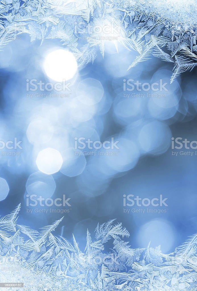 Ice flower frame on glass stock photo