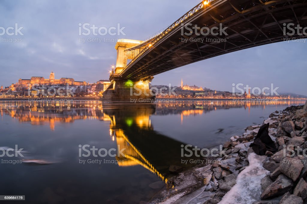 Ice flowing on river Danube at night stock photo