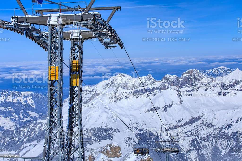 Ice Flyer chair lift on Mt. Titlis in Switzerland stock photo