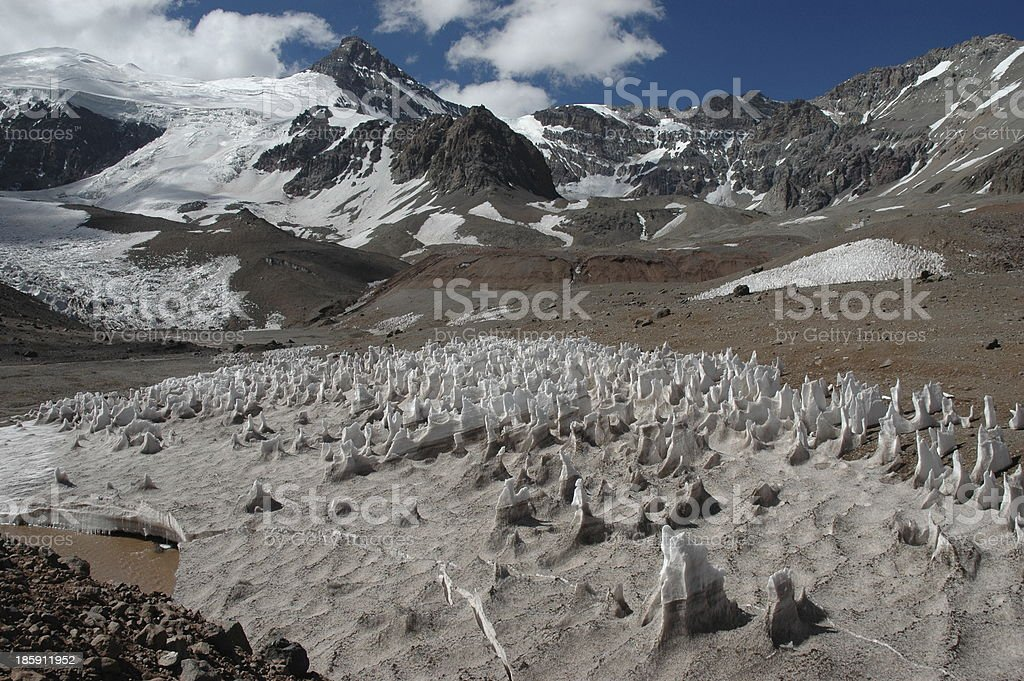 Ice formations at Aconcagua summit stock photo