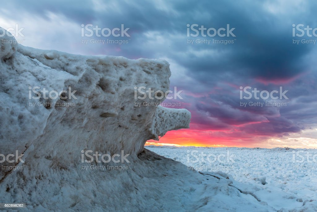 Ice Formations on Lake Huron at Sunset - Ontario, Canada stock photo