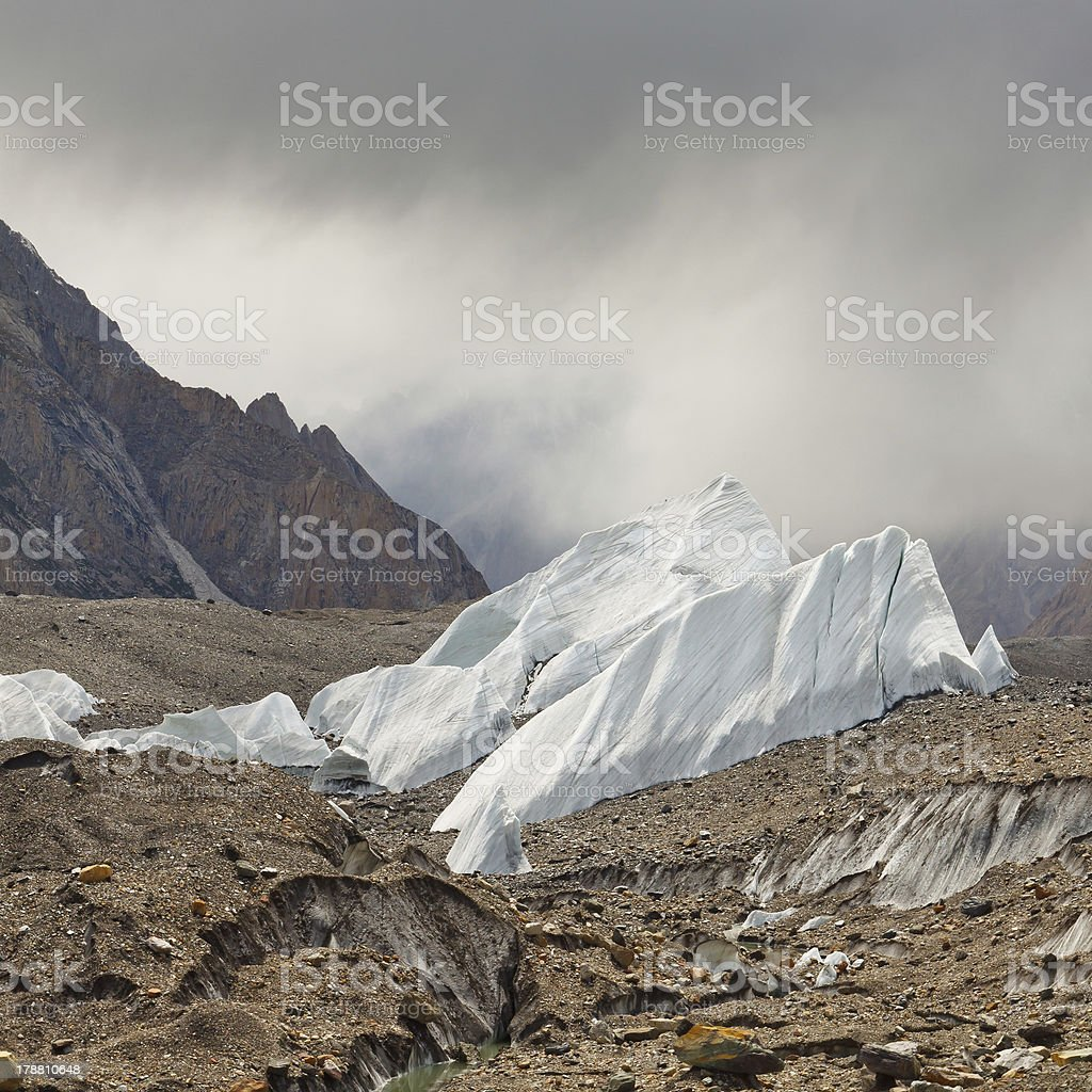 Ice Formations on the Baltoro Glacier stock photo