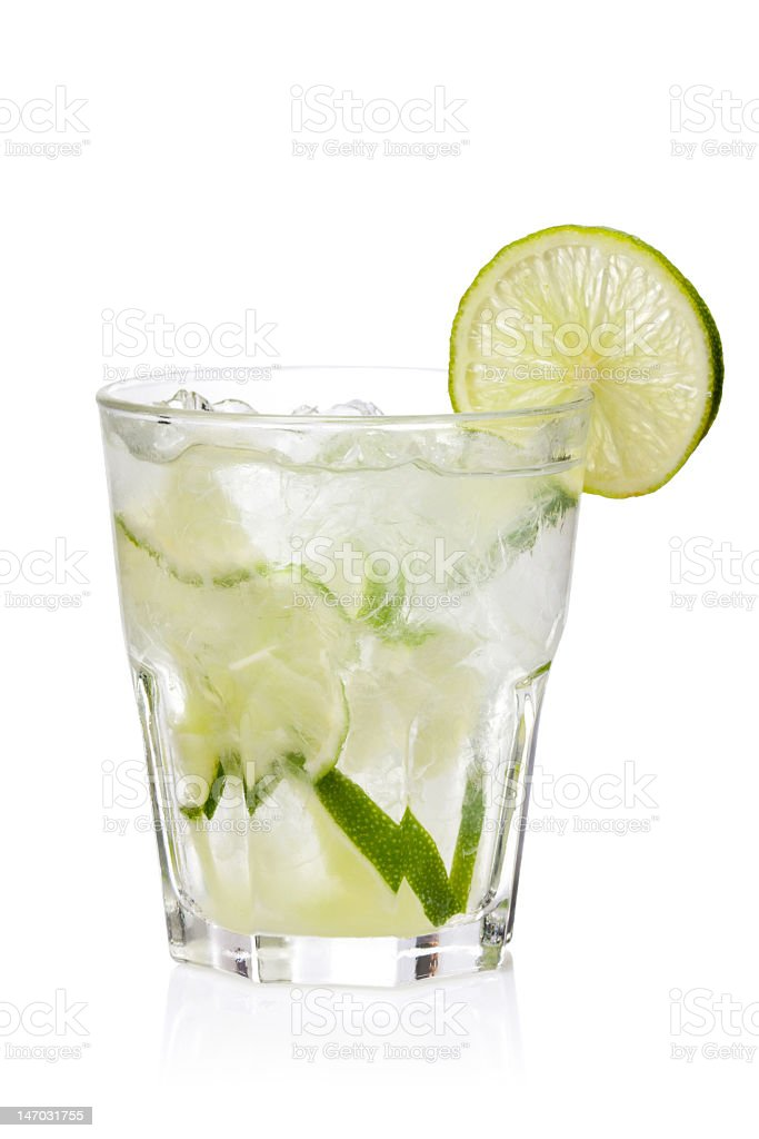 Ice fresh lemonade glass on a white background stock photo