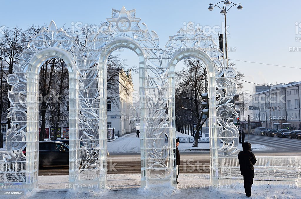 Ice gate in Yekaterinburg, Russia stock photo