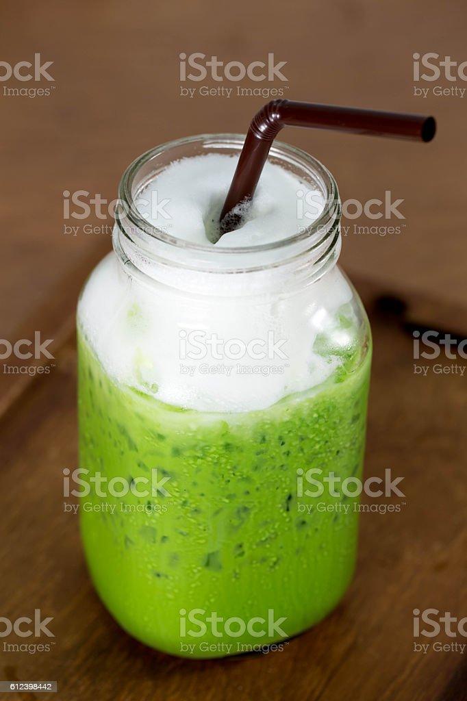 Ice Green Tea Latte stock photo