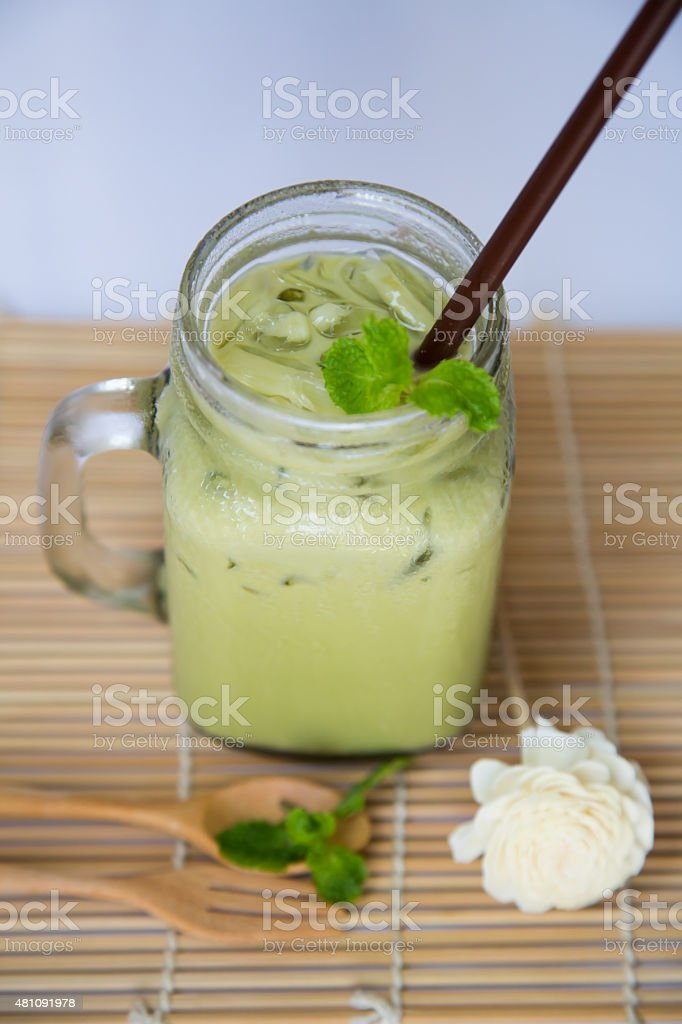 Ice green tea stock photo