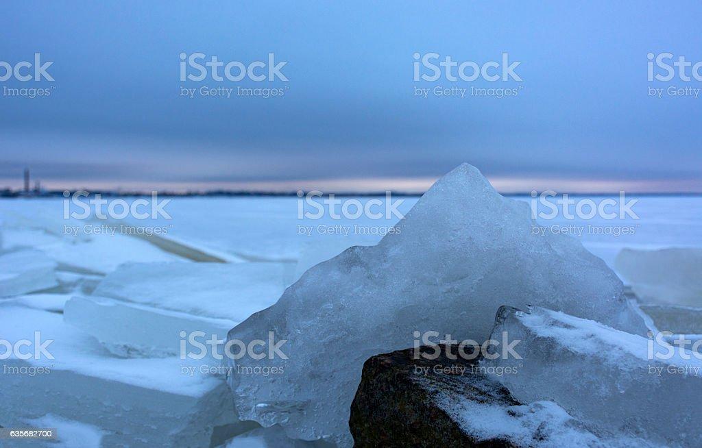 ice, Gulf of Finland, snow, St. Petersburg, boulder, winter stock photo