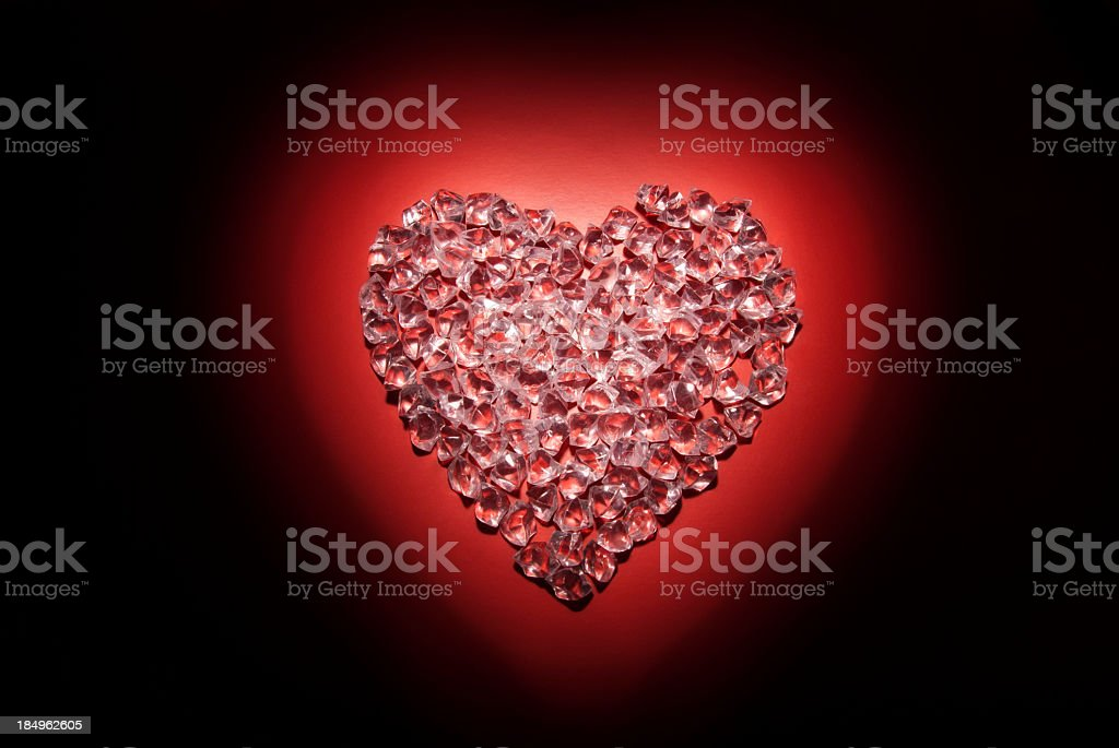 Ice Heart on Red royalty-free stock photo