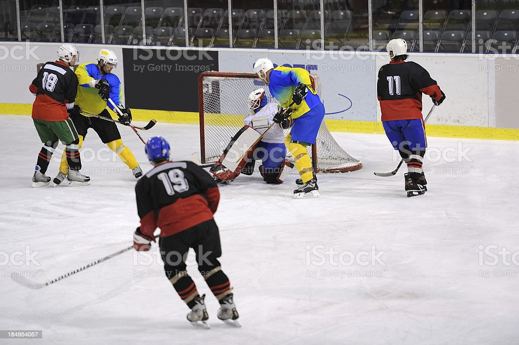 Ice hockey attack action royalty-free stock photo