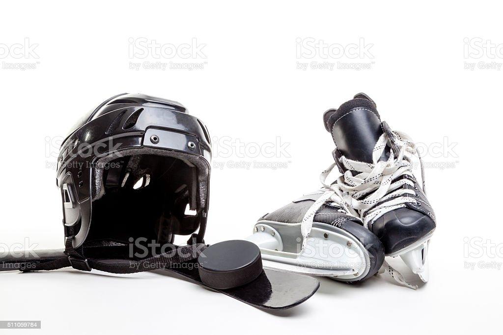 Ice Hockey Equipment Isolated on White Background stock photo