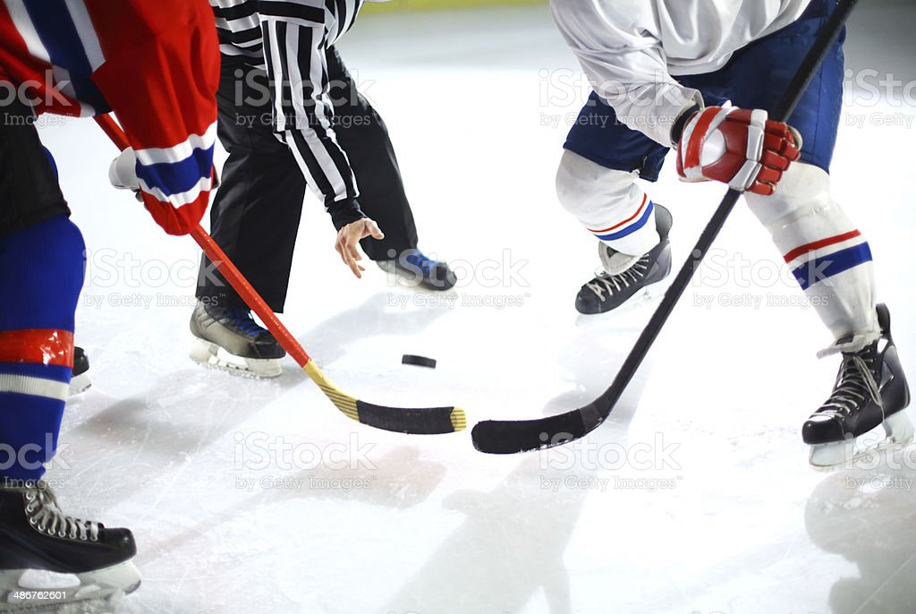 Ice hockey face off. stock photo