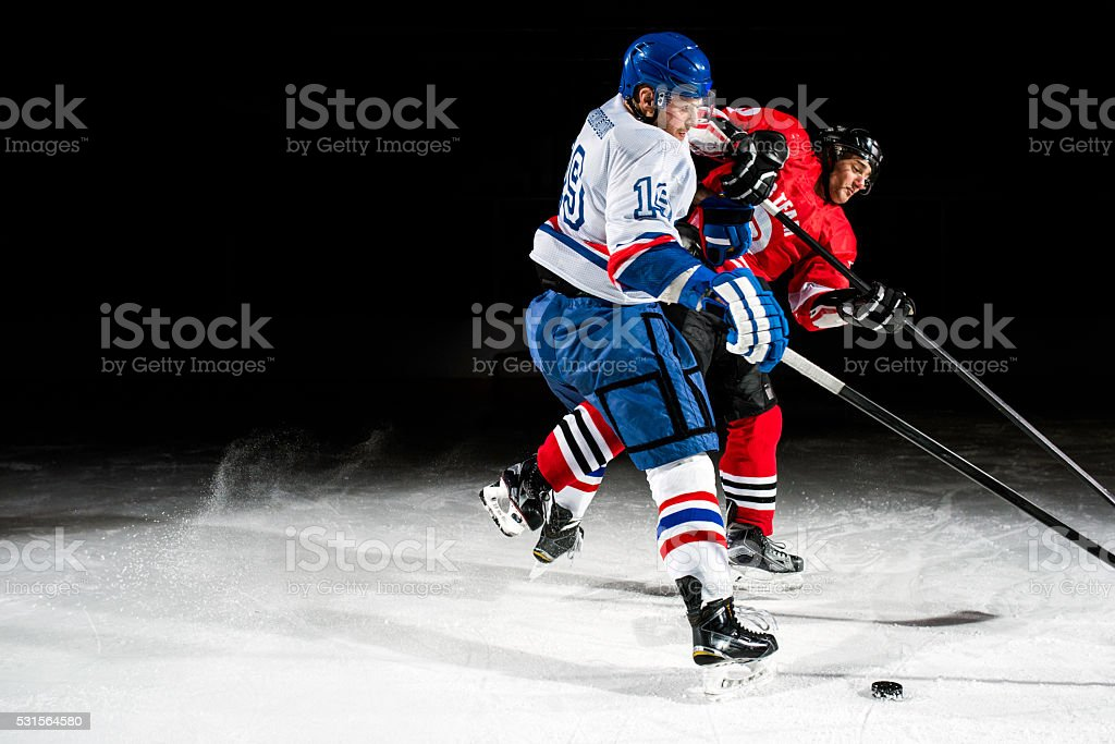 Ice hockey face off stock photo