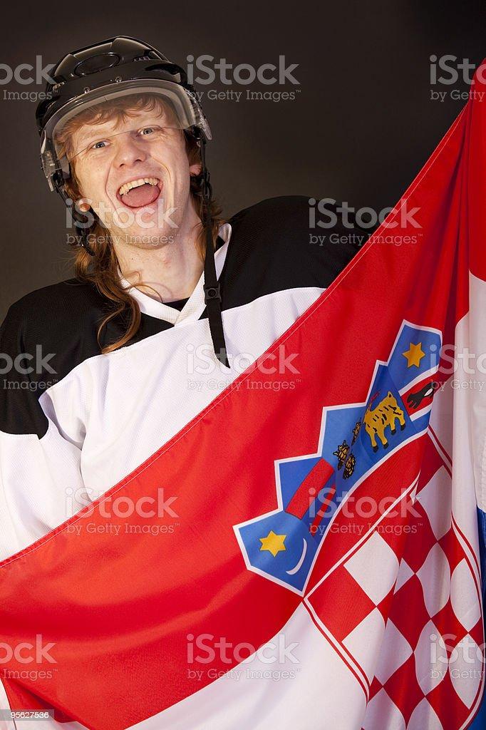 ice hockey fan with croatian flag royalty-free stock photo