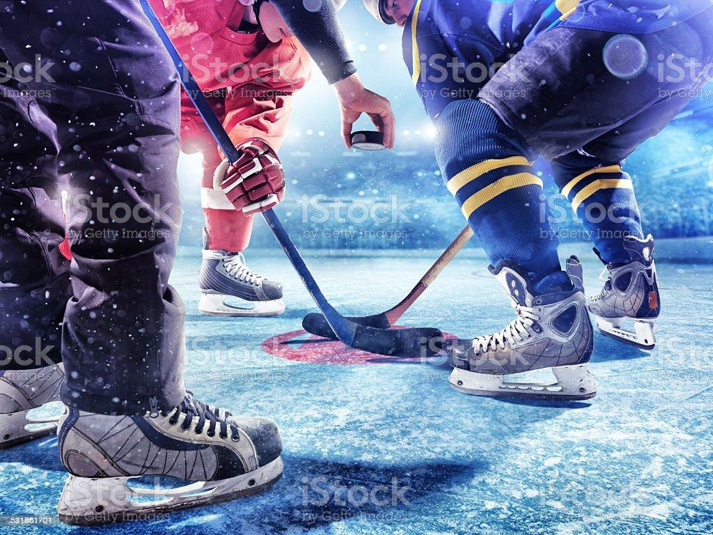 Ice Hockey game start stock photo