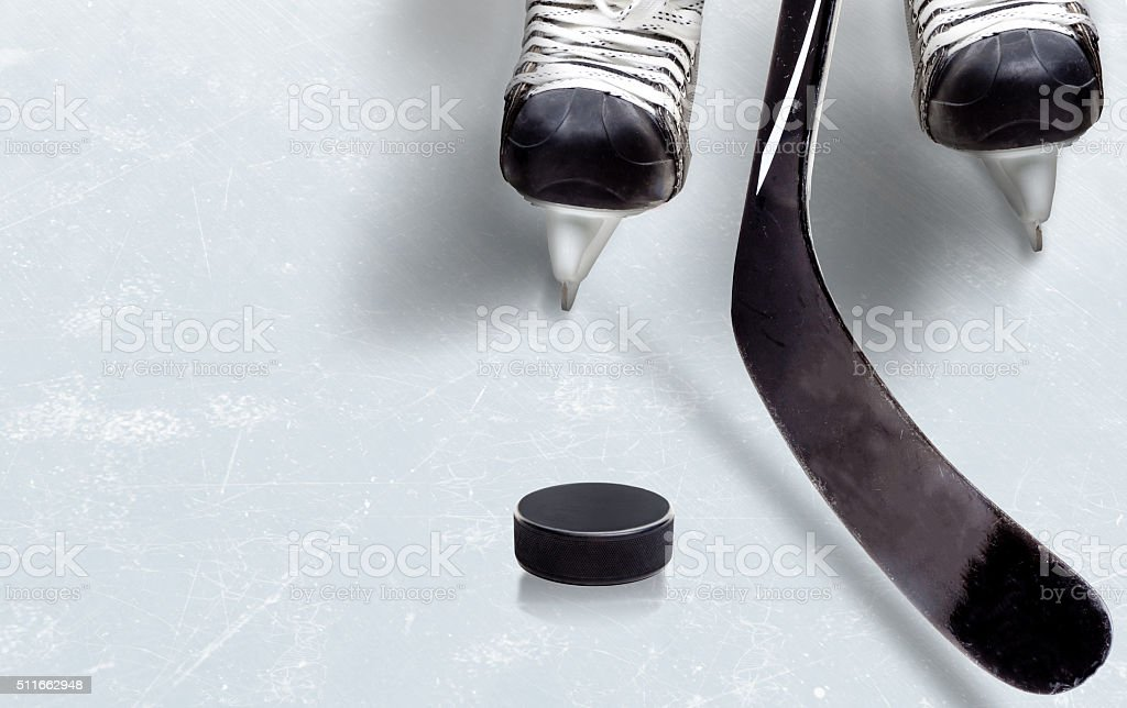 Ice Hockey Game With Copy Space stock photo