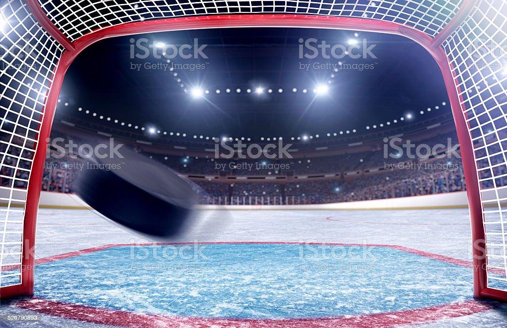 Ice hockey goal gate view stock photo