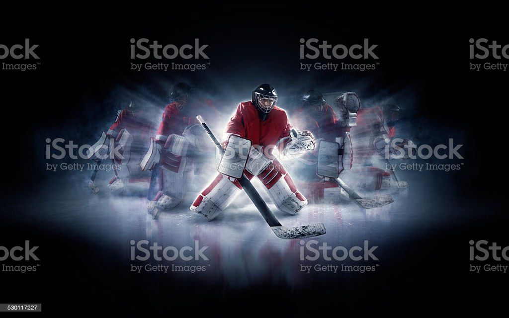 Ice hockey goalie in different positions stock photo