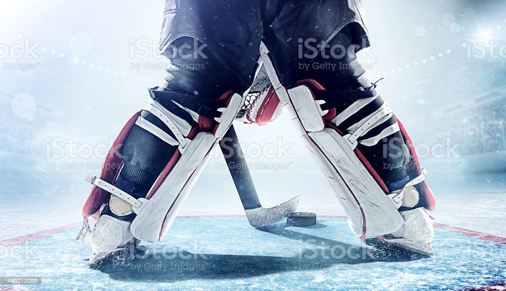 Inside gates view of professional ice hockey goalie during game in...