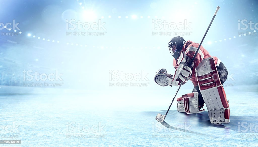 View of professional ice hockey goalie during game in indoor arena...