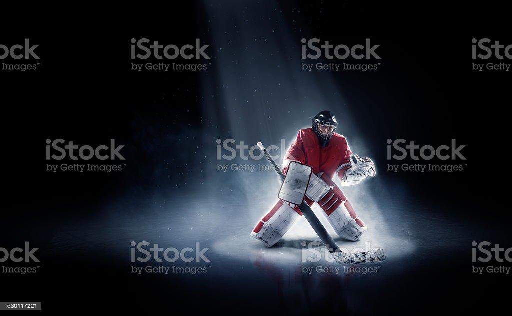Ice hockey goalie stock photo