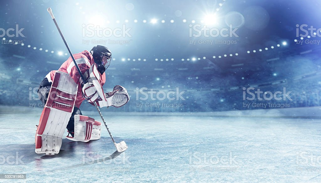 Ice hockey goalie stock photo