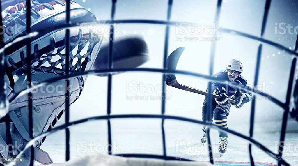 Ice Hockey Goalie view stock photo