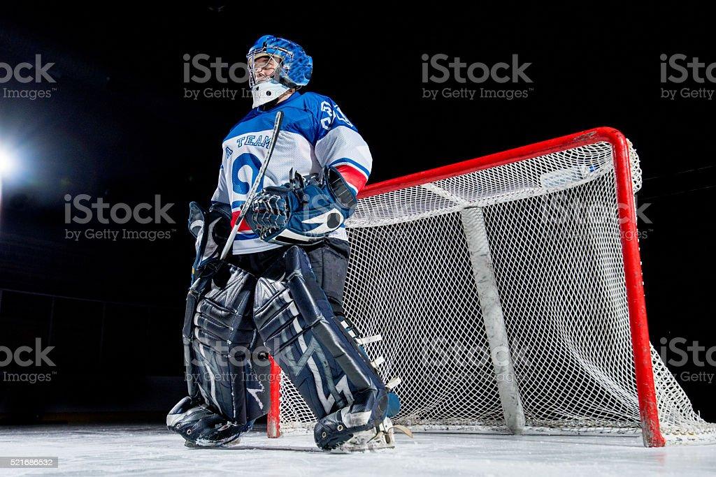Ice hockey goalkeeper stock photo