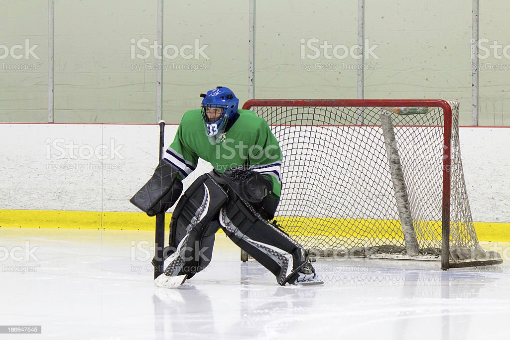 Ice hockey goaltender in action royalty-free stock photo