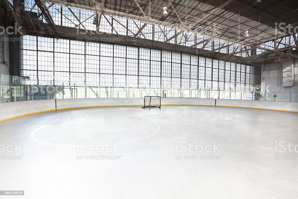 Ice hockey net in an arena stock photo