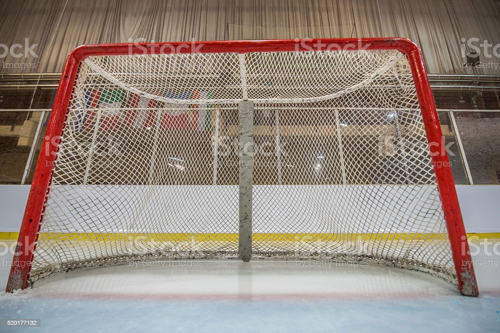 Ice hockey net stock photo