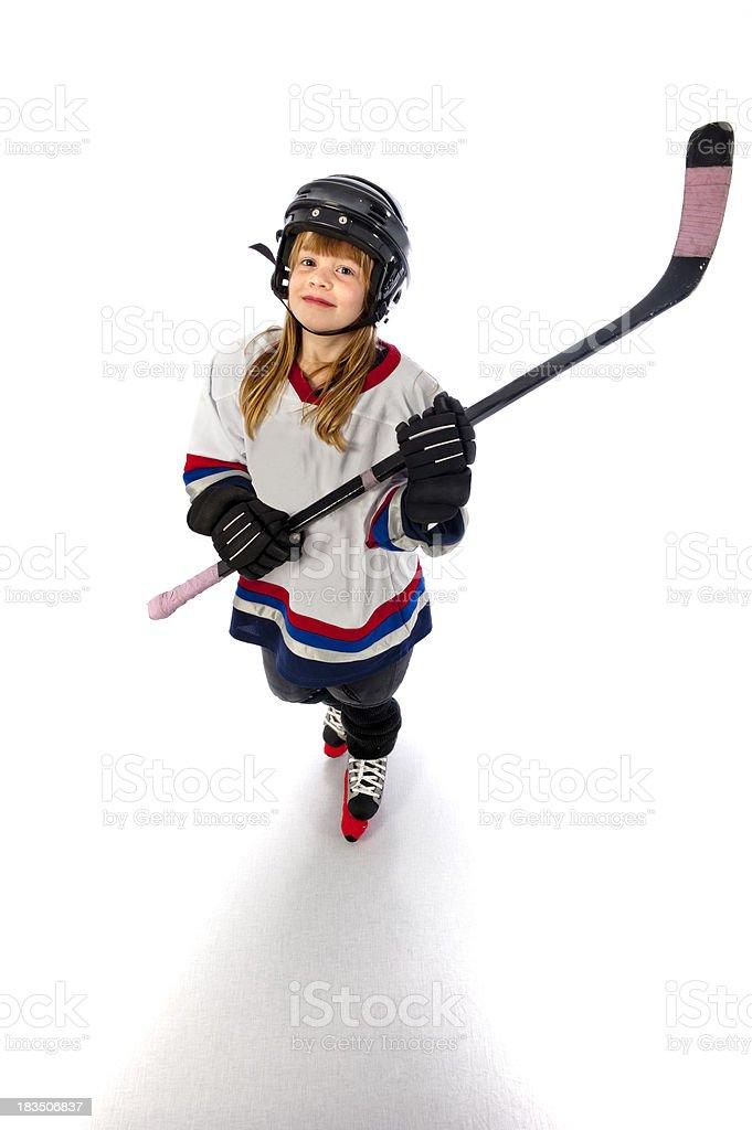 ice hockey player girl happy winner children royalty-free stock photo