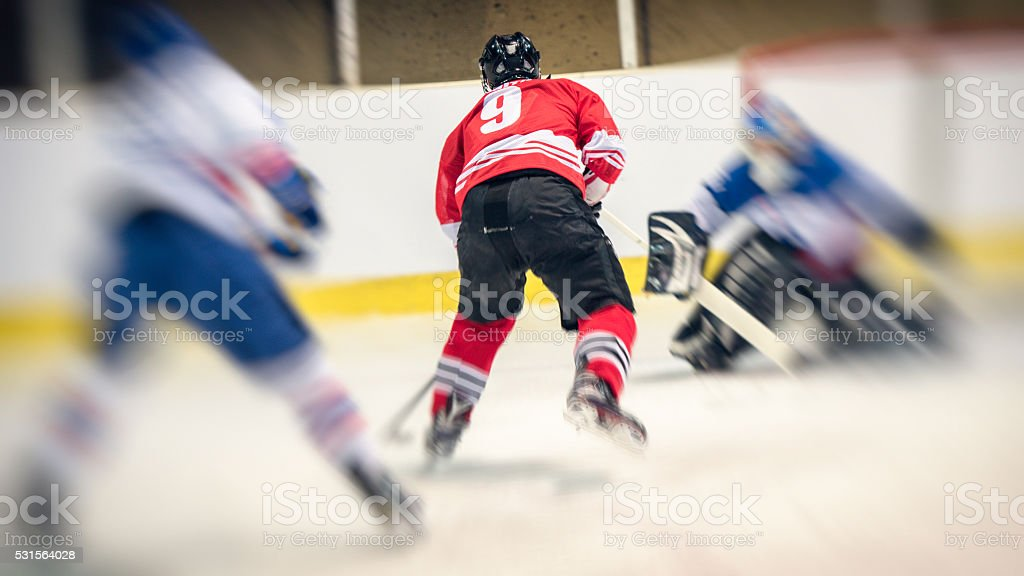 Ice hockey player in action, back view, burred motion