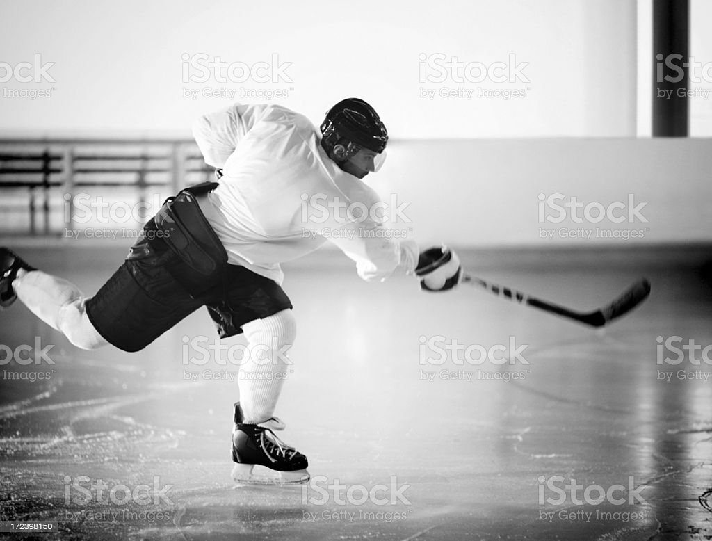 Ice hockey player in black and white. royalty-free stock photo