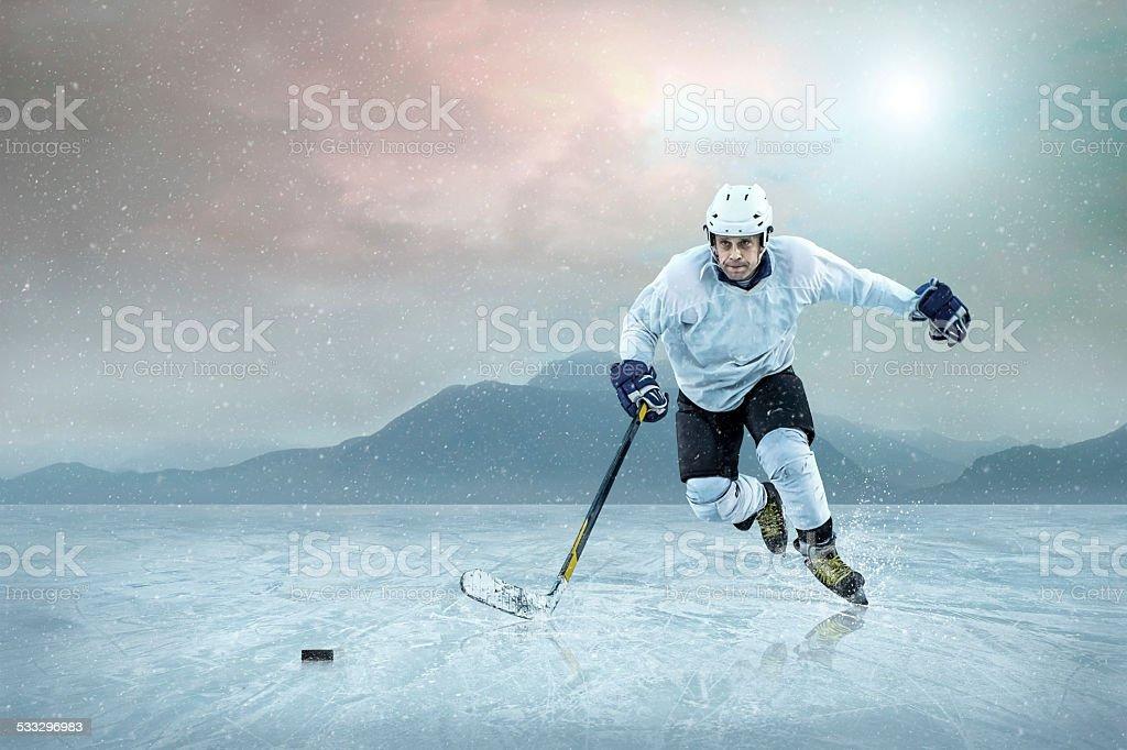 Ice hockey player on the ice stock photo