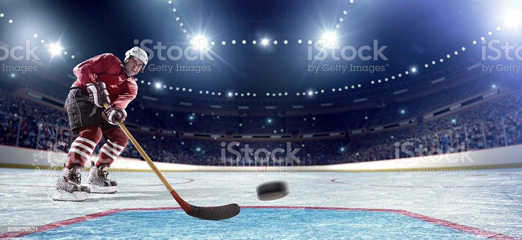 Ice Hockey Player Scoring Baner ready stock photo