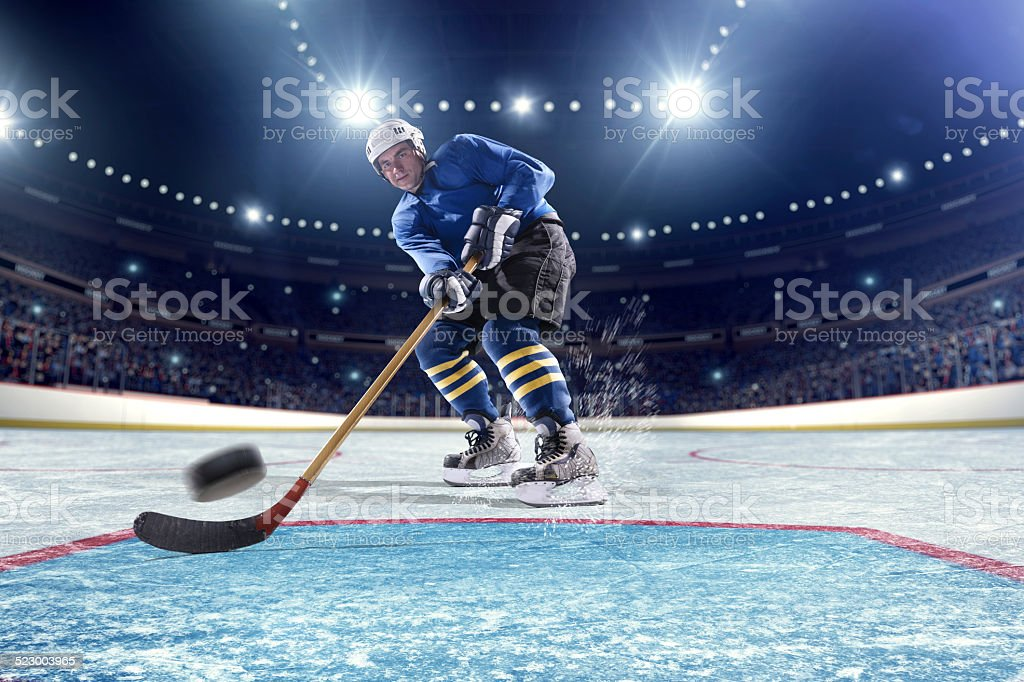 Inside gates view of professional ice hockey player scoring during...