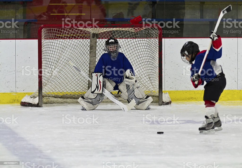 Ice hockey player shoots the puck on goal royalty-free stock photo