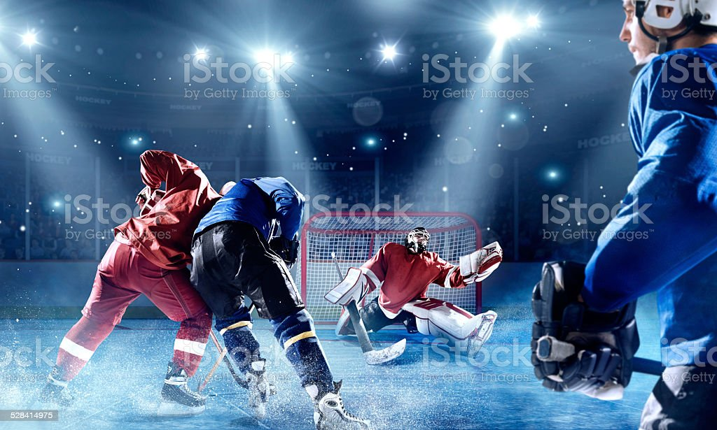 View of professional ice hockey players during game in indoor arena...