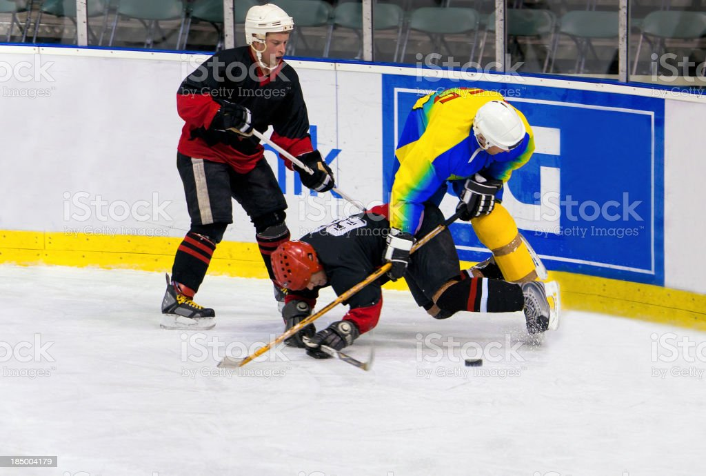 Ice hockey players in the rough action royalty-free stock photo