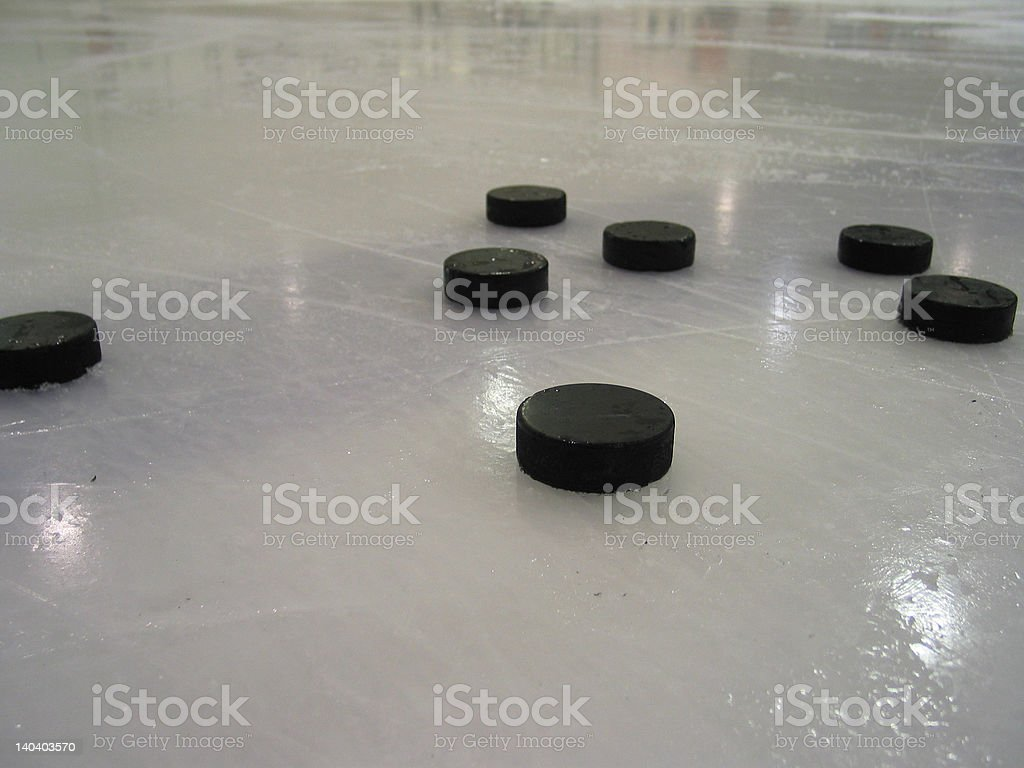 Ice Hockey Practice Pucks royalty-free stock photo