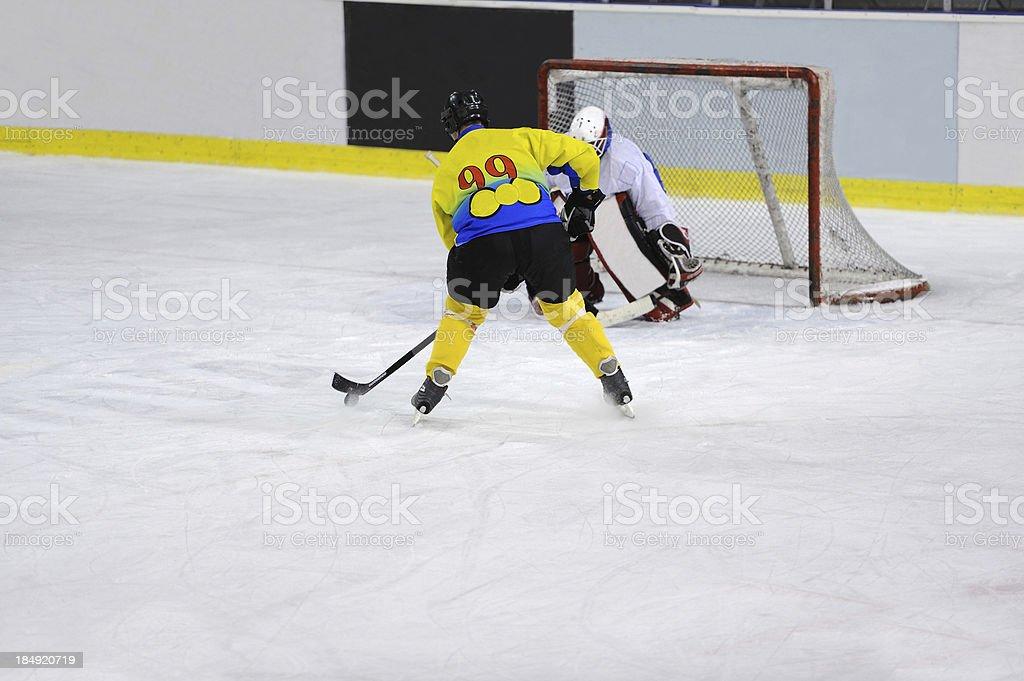 Ice hockey scoring action royalty-free stock photo
