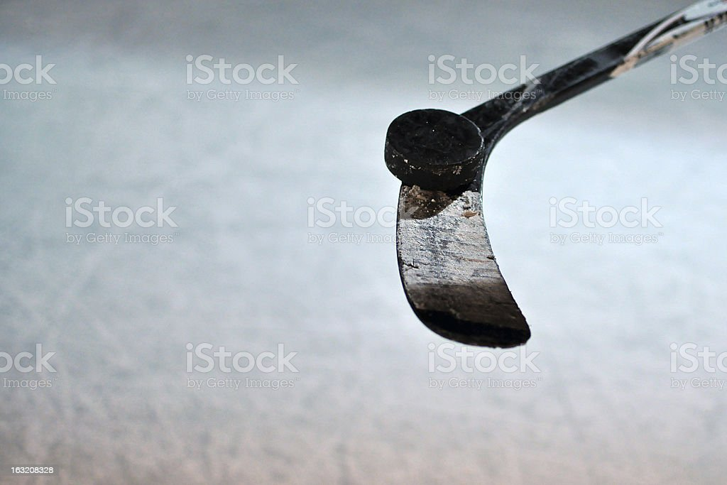 Ice Hockey Stick and Puck royalty-free stock photo