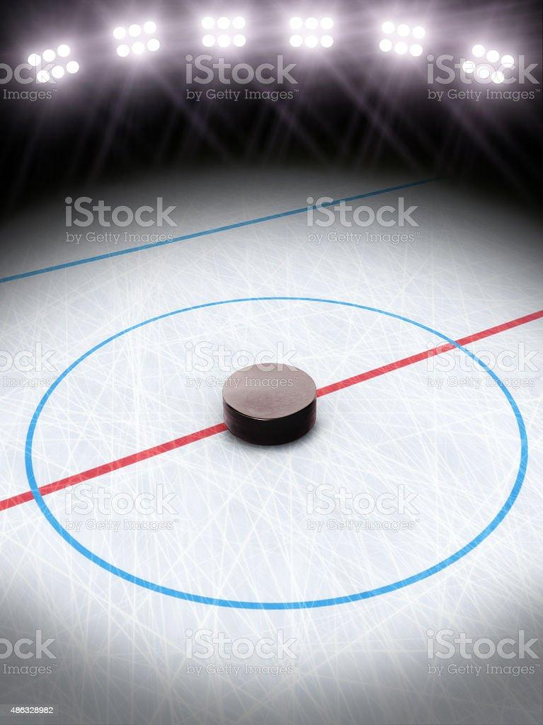 Ice hockey under the lights stock photo